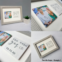 Personalised Two tile clay photo frame - celebrations, memories, gifts