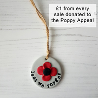 Remembrance Poppy hanging decoration or Magnet
