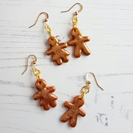 Glitter Gingerbread couple Modern earrings, limited pairs available
