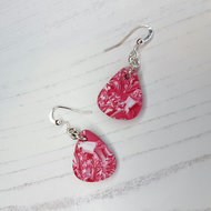 Marbled red and white Modern earrings