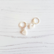 Mini white glitter heart hoop earrings, limited pairs available