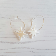 White glitter icicle star Modern earrings