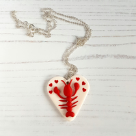 PRE ORDER Lobster and hearts Necklace