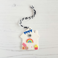 HRJ 10th Birthday House hanging decoration OR Magnet, Hand painted