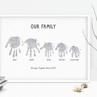 Elephant family handprint
