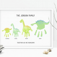 Dinosaur family handprint