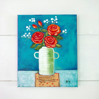 Rose Painting, Still Life Artwork, Orange Flowers, Original Art