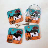 Art Coasters, Autumn Landscape, Cottage Style, Dining Accessories