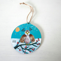 Owl Decoration, Winter Landscape Painting, Christmas Decoration. Turquoise