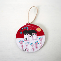 Red Christmas Bauble, Winter Decor, Tree Ornament, Winter Landscape, Handpainted