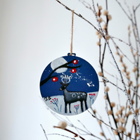 Blue Christmas Bauble, Deer Artwork, Animal Decoration, Wildlife, Countryside