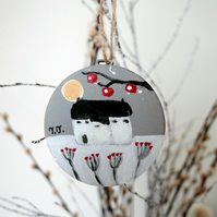 Grey Hand-painted Christmas Bauble, Cottage, Winter Landscape