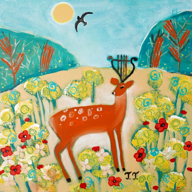 Deer Artwork, Summer Landscape Painting, Countryside Artwork, Home Decor