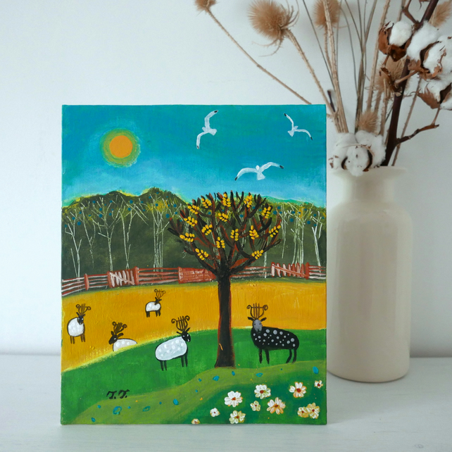 Countryside Painting, Landscape Artwork, Sheep Art, Nature
