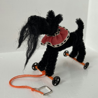 Miniature Terrier on Wheels - Vintage Style OOAK Sculpture.