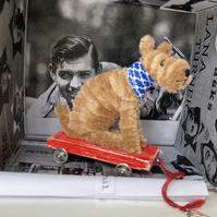 Miniature Terrier on Pull Along Trolley with Wheels  -  OOAK Sculpture.