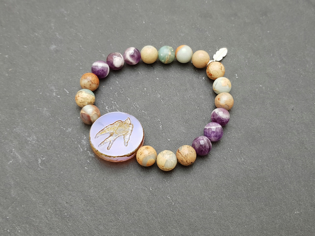 Jasper and amethyst yoga mala bracelet