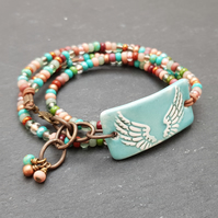 Angel wings artisan ceramic vegan wrap bracelet