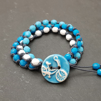 Beaded boho bicycle button wrap bracelet