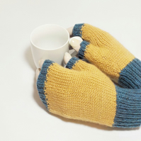 Knitted soft British wool fingerless gloves blue and fawn
