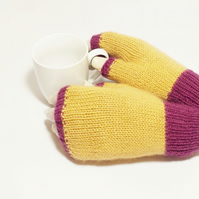 Knitted soft British wool fingerless gloves plum and fawn