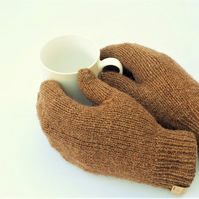 Castlemilk Moorit mittens natural brown hand knitted British wool gloves