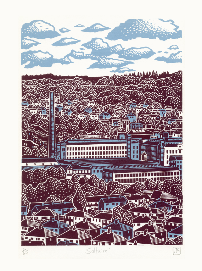 Saltaire two-colour A3 linocut screen-print
