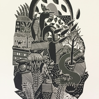 Happenings in Donkey World No.8 one-colour A2 linocut screen-print