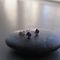 Sterling Silver and Amethyst Stud Earrings