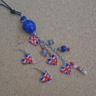 Union Jack heart pendant and earrings - red and blue Handmade jewellery 2t