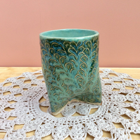 Green tumbler with three feet, tripod stoneware cup, Small vase or pen pot, 3not
