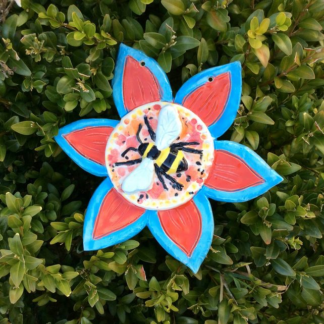 Bee and flower wall art -  Red, blue, yellow ceramic plaque - Pottery decor