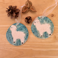 white and green lamb ornament - ceramic sheep wall home decor 1LL