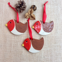 Robin hanging ornament, Ceramic bird Christmas decoration, Redhome decor 1LL