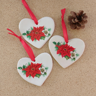 Heart hanger with red poinsettia flower and holly - Clay Christmas decor  1LL