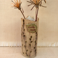 Willow catkins vase with Carpe Diem inscription, Ceramic country home decor, 5t
