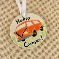 Orange camper van hanging ornament, Ceramic decoration,  Happy camper hanger 1LL
