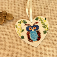 Owl  heart hanging ornament  - Blue and red bird home decor 1LL