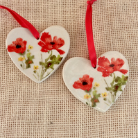 Red  Poppy hanging ornament - Ceramic home decor with red flower 1LL