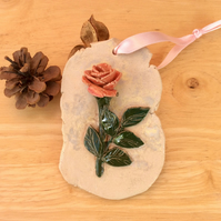 Pink rose hanging ornament, Ceramic green decoration, Home decor, 2not