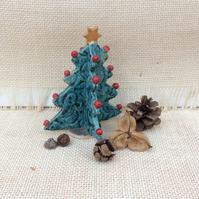 Ceramic Christmas tree with red baubles and gold star - green Christmas decor