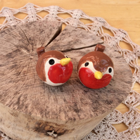 Pair of robins, Collectible ceramic birds, Christmas home decor, red birds, 2not