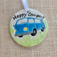 Blue camper van hanging ornament, Ceramic decoration,  Happy camper, 1LL