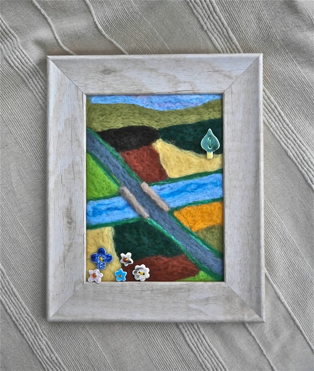 Needle felted landscape with ceramic buttons, Country scenery wall art, 3t