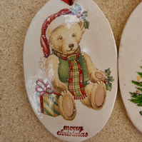 Teddy bear ornament, Vintage ceramic hanging decor, 2not