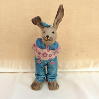 Blue and pink rabbit sculpture in jeans and blouse, Girl bunny, 6t