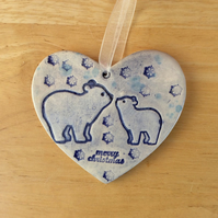 Polar bear hanging ornament, Blue ceramic home decor, 1LL