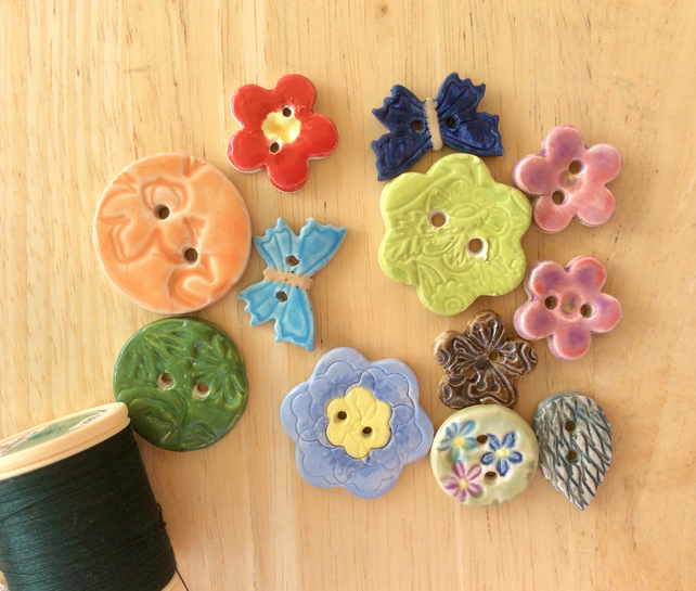 Mixed handmade buttons - butterfly, flower ceramic buttons - Clearance - 2not