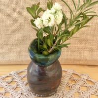 Green and brown bud vase, Handmade stoneware vase, 2not