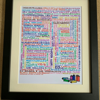 Framed Manchester Bands Graffiti Style Print